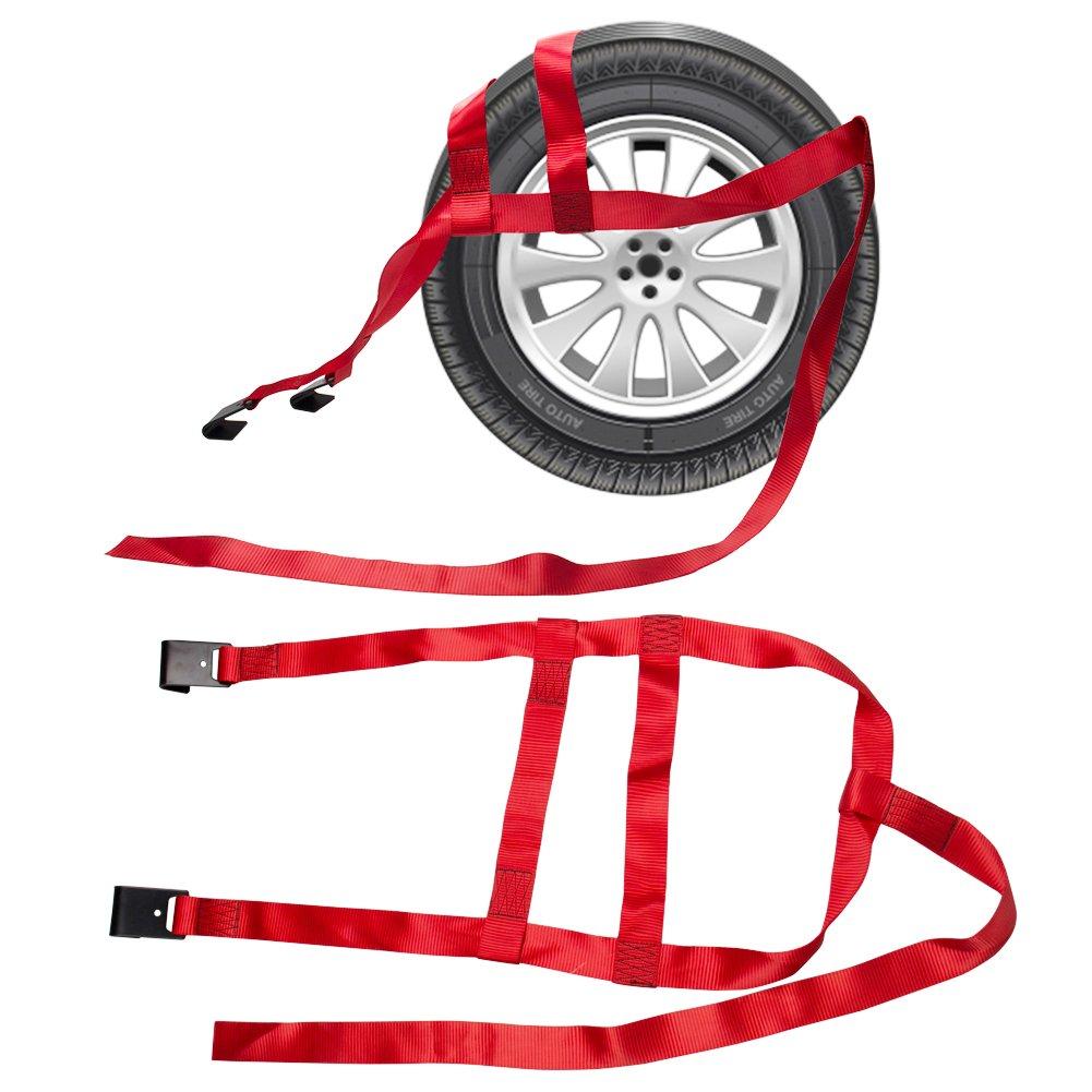 B4B BANG 4 BUCK 2 Packs 15 to 20 Inch Rim Universal Adjustable Tie Down Tow Straps for Demco Kar Kaddy Dollys with 2 Flat Hooks 6600 lb Breaking Strain by B4B BANG 4 BUCK