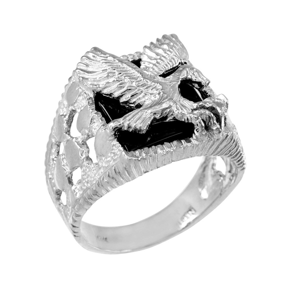 Men's Black Onyx American Eagle Open Nugget Ring in Sterling Silver (Size 8.25)