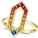 Aokarry Women 18K Yellow Gold Anniversary Promise Ring, Colorful Gems Hexagon Rings for Womens