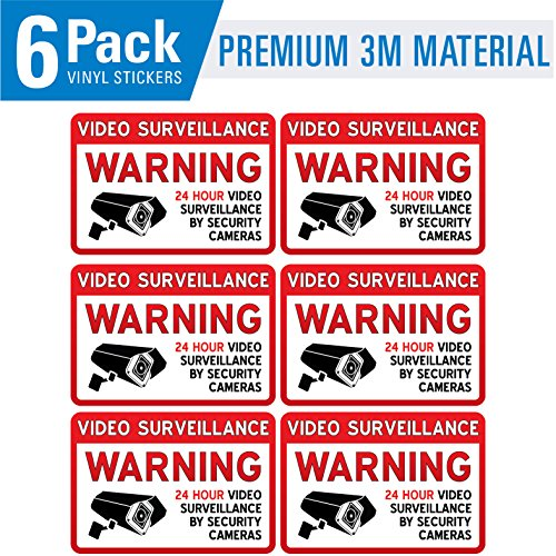 Video Surveillance Warning (6 Pack) - Security Camera Warning Sticker Sign - 3.75in x 2.75in - 6 MIL - Vinyl Decal Sticker - Camera Warning Sticker