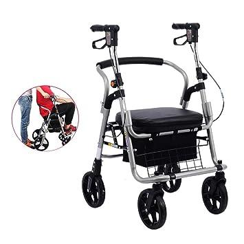 Mhxzkhl Plegable Andador para Ancianos De 4 Ruedas,Aluminio Ultraligero Incluye Cesta, Negro,1: Amazon.es: Hogar