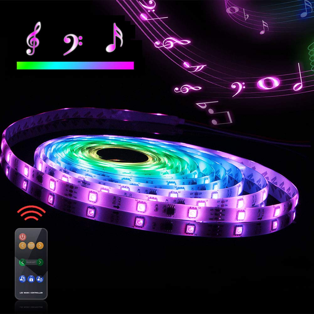 Led Strip Lights Sync to Music, 5M/16.54ft Chase Effect Led Lights Kit 5050 RGB Led Rope Lights Waterproof Led Lights Strip with 360 Degree Signals Accept RF Remote 12V AC Adapter Powered by Abtong