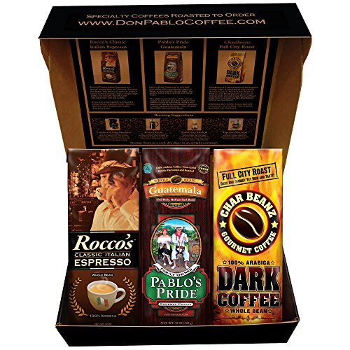 Cafe Gift (Cafe Don Pablo Holiday Gift Box Coffee Sampler - Variety of 3 Whole Bean Coffee - 3 / 12oz bags - Guatemala, Rocco Espresso, Char Beanz DARK Roasted Coffee)