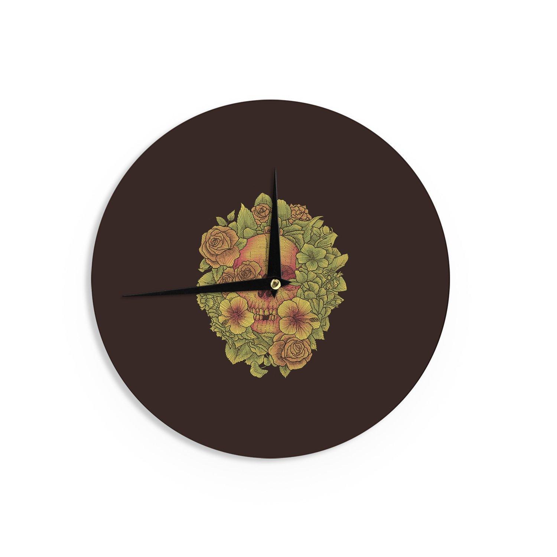 Kess InHouse BarmalisiRTB Fragrant Dead Green Illustration Wall Clock 12 Diameter