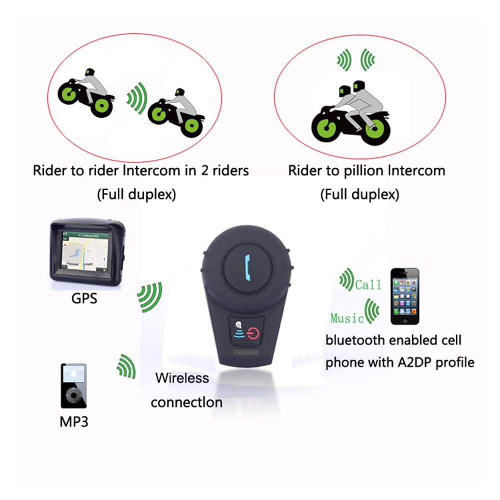 FreedConn FDCVB Helmet Bluetooth Headset Intercom with Soft Corded Microphone for Motorcycle Communication Systems(Pack of 2/Range-500M/2-3Riders Pairing/Black) by FreedConn (Image #7)
