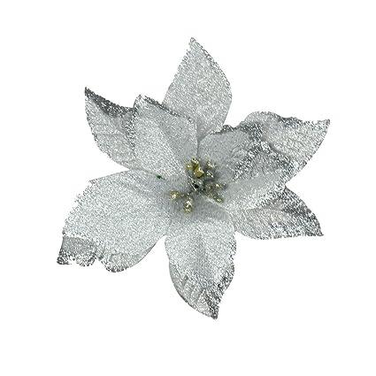 amazon com 6pcs 5 inch glitter artificial wedding christmas flowers