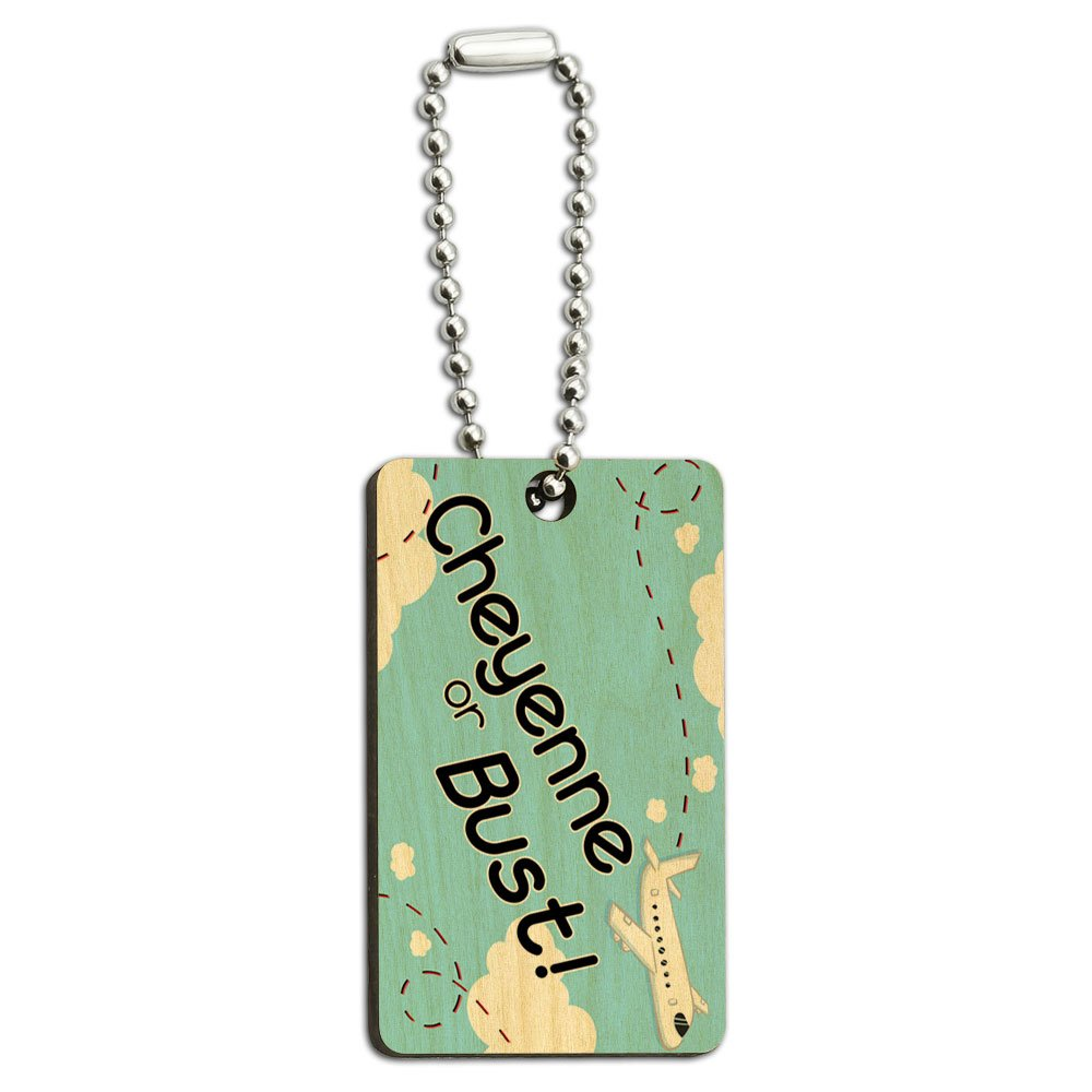Cheyenne or Bust - Flying Airplane Wood Wooden Rectangle Key Chain