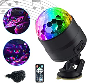 Disco Ball Strobe Light,Maso Car Interior Atmosphere DJ Light Sound Active Function with Cigarette Lighter Wireless Remote Control for Camping Party