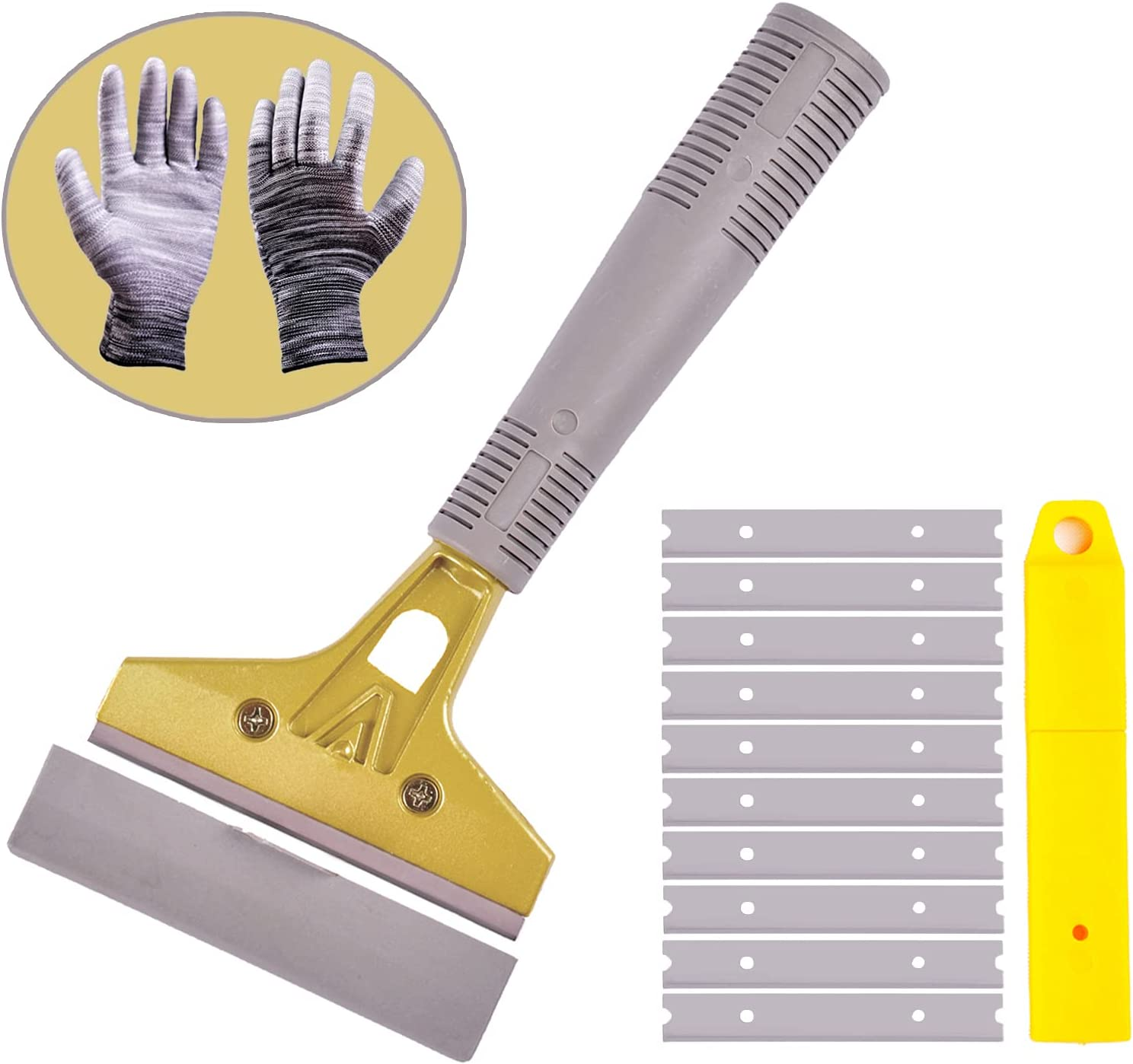 wanguan Razor Blade Scraper, 4 Inch Scraper Tools for Glass with 10PCS Replacable Blades, Multi Purpose Floor Scraper for Gum, Wall, Stove, Paint, Caulk, Labels, Adhesive, Sticker, Tile (With Gloves)