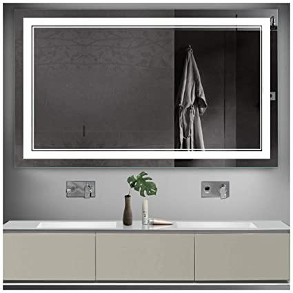 Attrayant Amazon.com: Keonjinn 40 X 24 Inch Anti Fog Horizontal/Vertiacl Dimmable LED Bathroom  Vanity Mirror Large Wall Makeup Mirror With Light: Home U0026 Kitchen