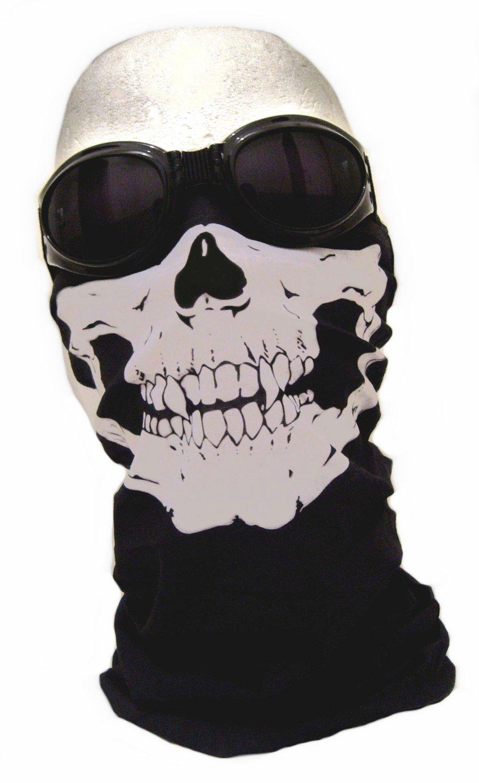 "7X - Pasamontañas de media caña diseño de ""Assasin's Skull"" y pañuelo diseño de calavera C..."