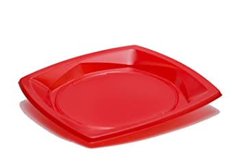Pack of 20 Red Square Disposable Plastic Plates 22cm  sc 1 st  Amazon UK & Pack of 20 Red Square Disposable Plastic Plates 22cm: Amazon.co.uk ...