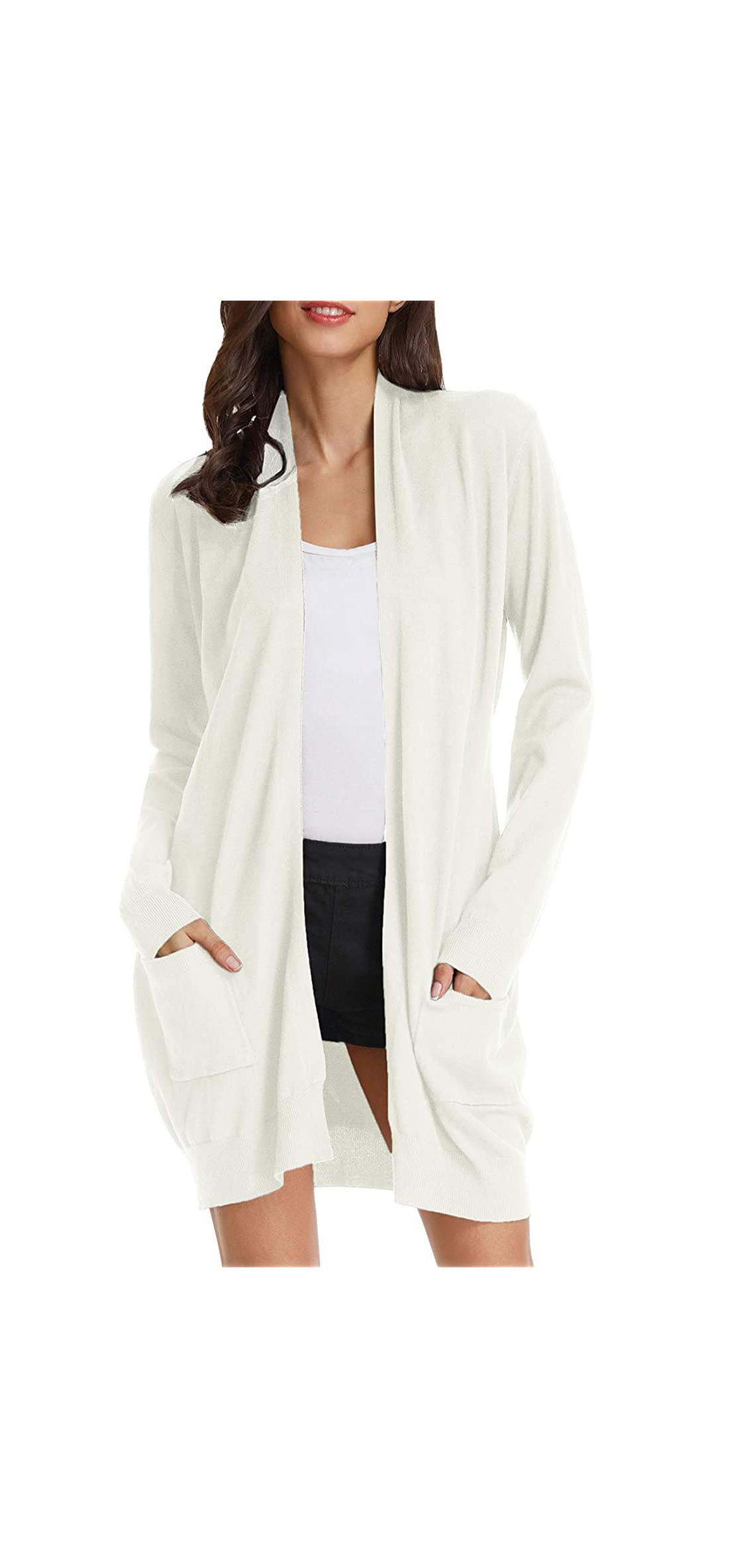 Essential Solid Open Front Long Knitted Cardigan For