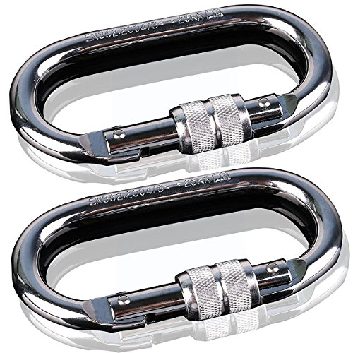 2 sets of rock climbing riders (25KN = 5600 pounds) O-shaped super-strength steel screws lock anti-fall safety equipment | camping outdoor hiking climbing climbing | quality quality maximization (Eyeglasses Twin Falls)