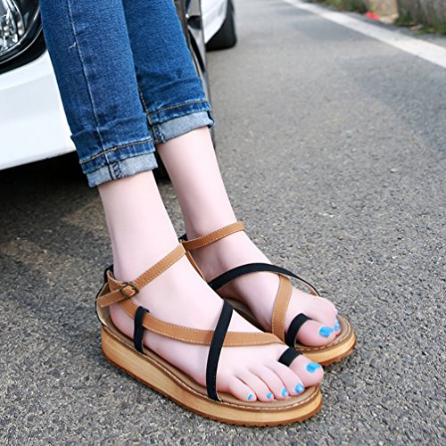 Piattaforma Vacanza Sandali Scarpe Nero Heeled Toe Estate Yiiquan Donna Comfort Peep Zeppa Clip vxvHqBU