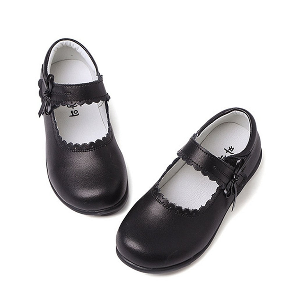 CYBLING Girl's School Uniform Dress Shoes Soft PU Leather Mary Jane Flat with Side Bow (Toddler/Little Kid/Big Kid) by CYBLING (Image #2)