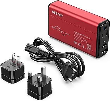 Onda sinusoidal Pura] BESTEK Adaptador de conversor de Viaje 220 V a 110 V convertidor de Voltaje de alimentación 0-2,4 A Dual Smart USB UK/AU/US Worldwide Plug (Rojo y Negro): Amazon.es: Electrónica