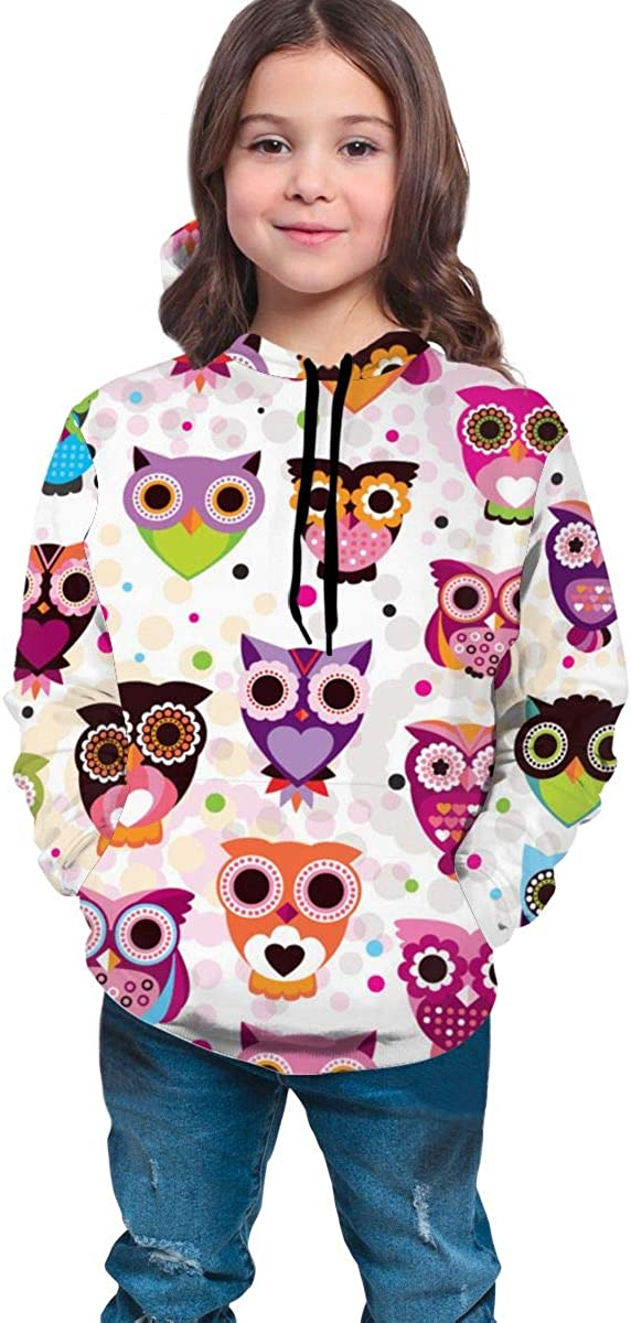 Youth 3D Print Colored Owl Hooded Sweatshirt