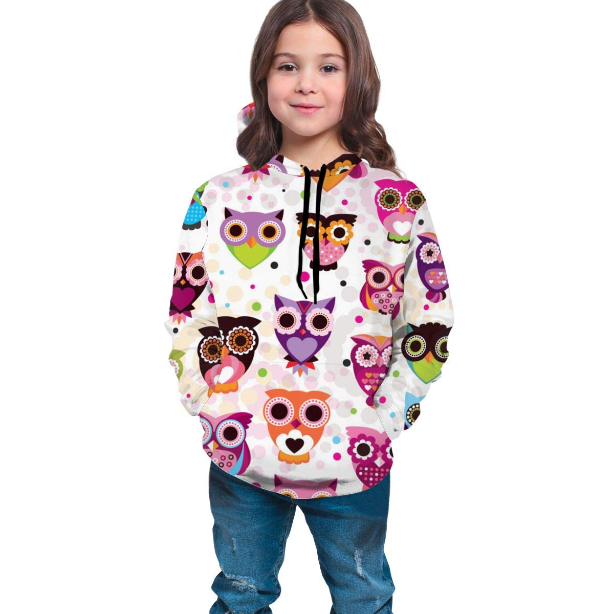 Youth 3D Print Colored Owl Hooded Sweatshirt Kids
