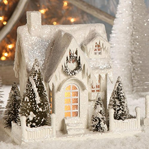 Christmas Decor - Bethany Lowe Designs - Large Ivory Cottage
