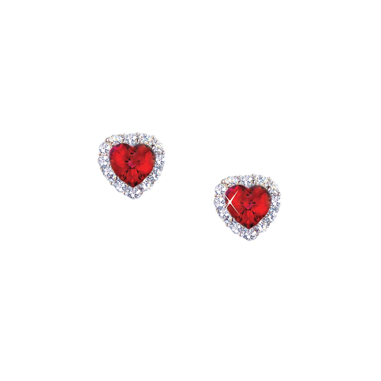 Landau 2 CTTW Heart Shaped Ruby Red CZ Earrings in Silvertone