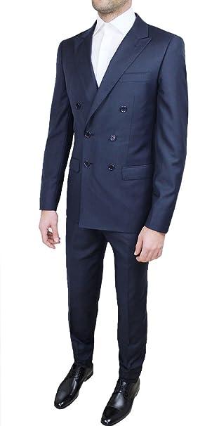 lowest price d905d ed7ce Abito completo alta sartoria uomo doppiopetto blu scuro navy marine  elegante cerimonia