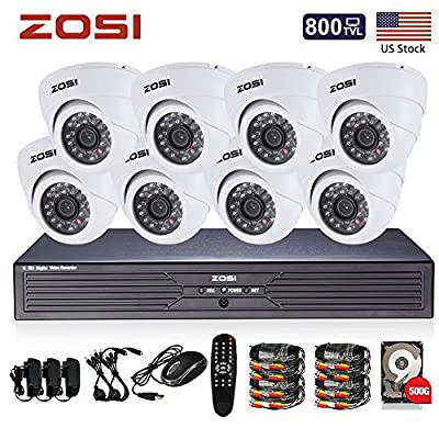 ZOSI 8CH CCTV System Kit 960H Recording Home Security DVR 8PCS 800TVL HD 24IR IP44 Day&Night Color CMOS Cameras 65ft Night Vision Surveillance Smart Security Kit 500GB HDD