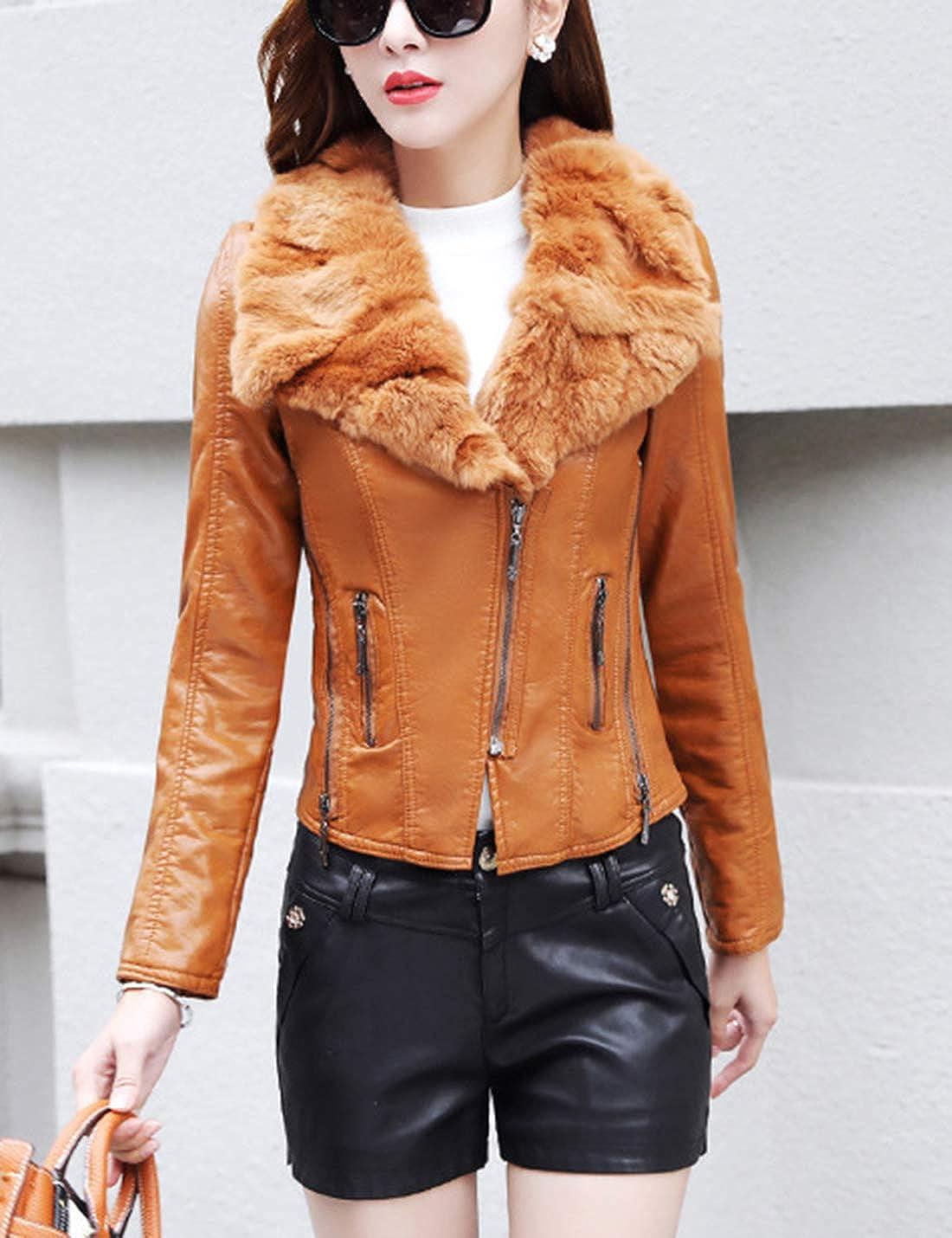 Tanming Womens Slim Fur Collar Fleece Lined Outerwear Short PU Leather Moto Jackets Coats