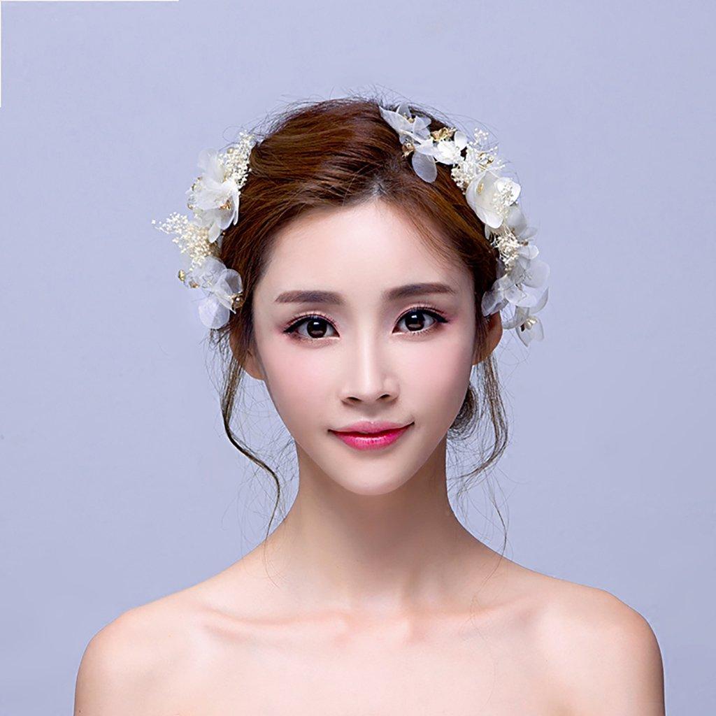 Blumen-Kranz, getrocknete Blumen Haar-Verzierungen Kopf-Blumen-Zusätze Haar-Band-Stirnband ( Farbe : Weiß )