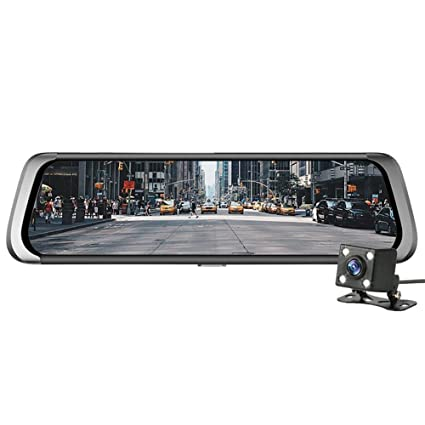 Amazon com: 10in Dual Lens BT WiFi Android Car Rearview