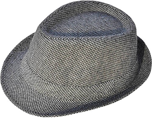 Simplicity Short Brim Teardrop Crown Wool Blend Fedora Hat 3078_Grey/Black