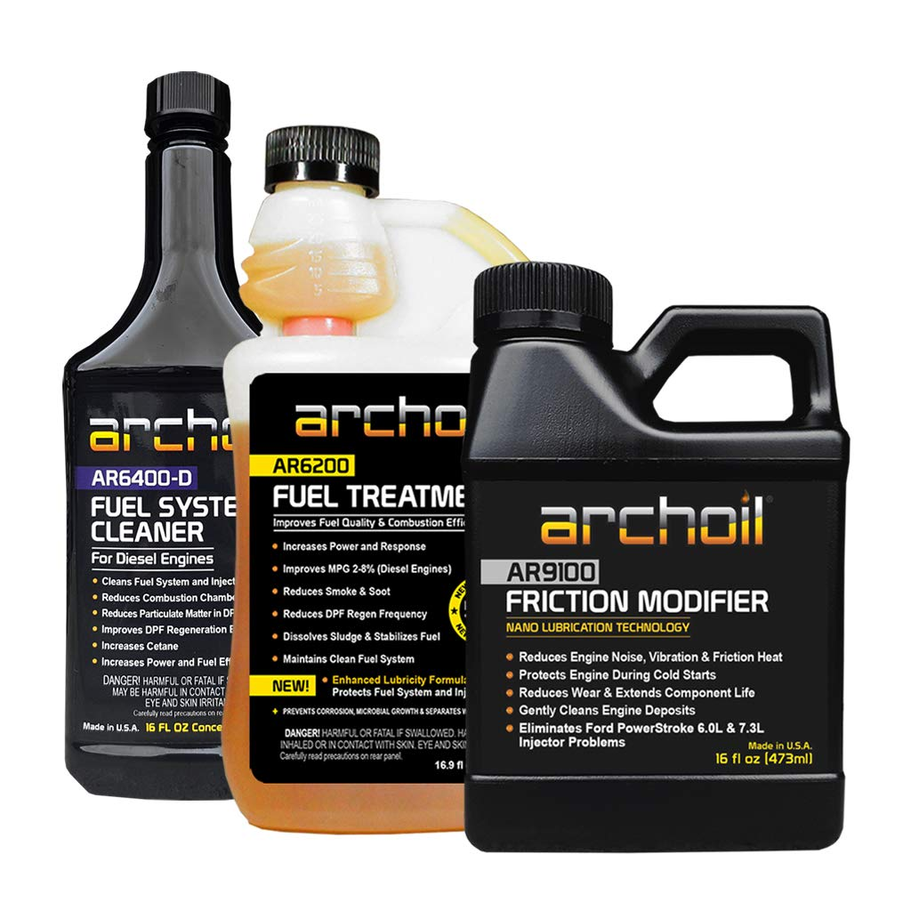 Archoil Real Deal Kit - AR9100 Friction Modifier (16oz) + AR6200 Fuel Treatment (16.9oz) + AR6400-D Fuel System Cleaner (16oz) by Archoil
