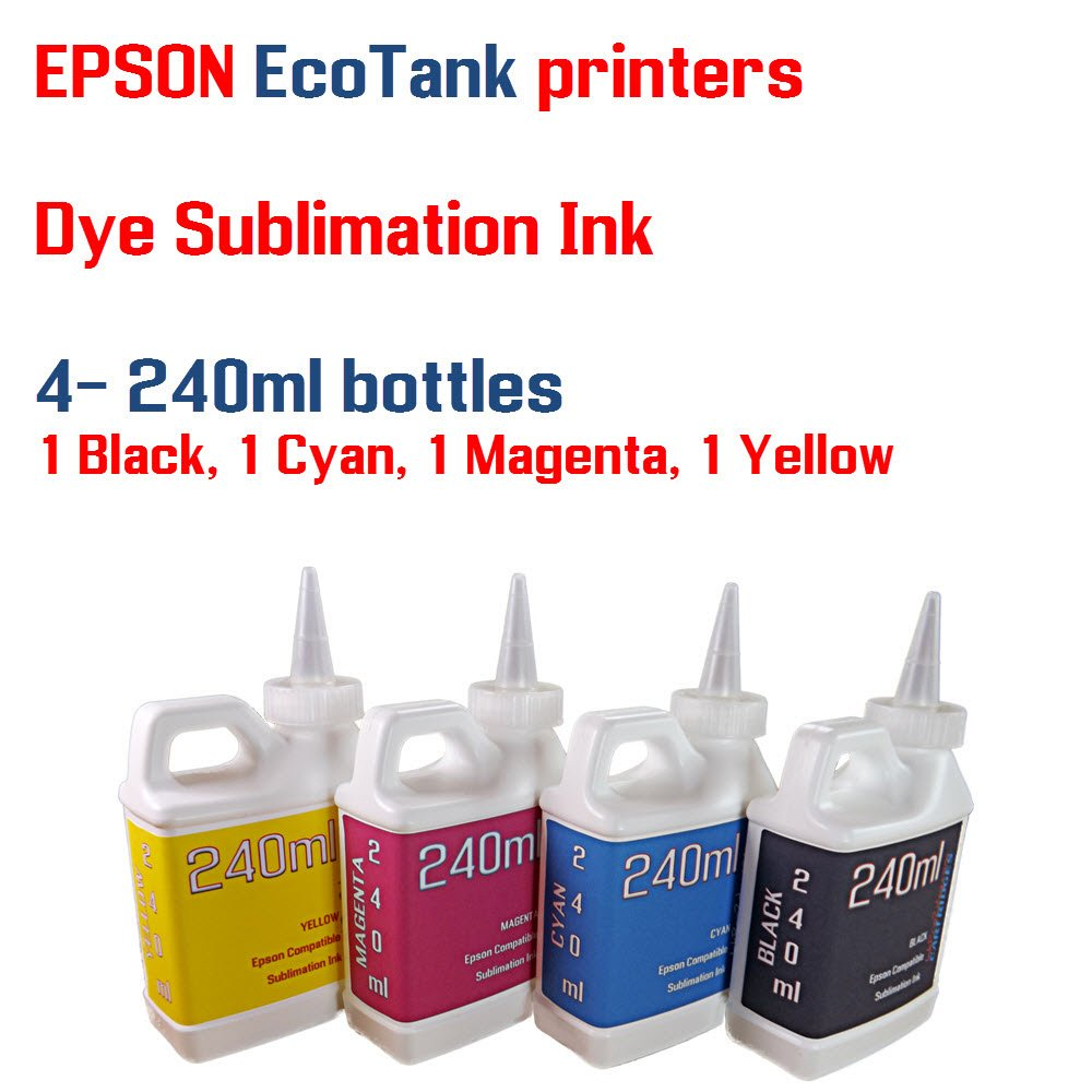 Dye Sublimation Ink 4 Multi Color 240ml bottles - EcoTank ET-2500, ET-2550 by Try The Ink