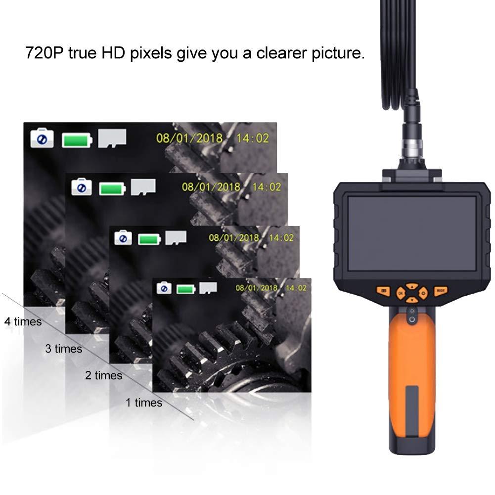 Endoscopio de aumento 4.3inches LCD Video Inspection 0.3in C/ámara Endoscopio de mano Boroscopio Serpiente Alcance 3.3ft Manguera