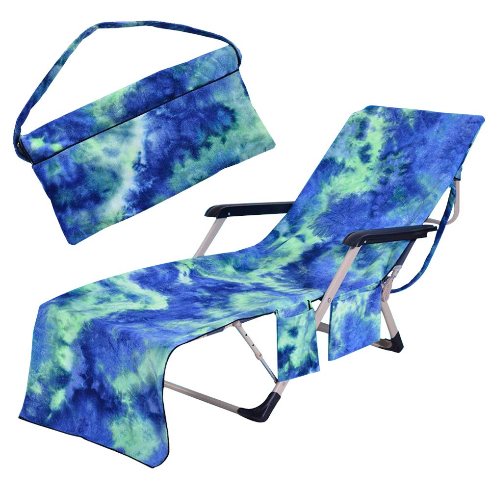 Freesooth Beach Chair Cover, Pool Lounge Chaise Towel Sun Lounger with Side Storage Pockets (Blue)