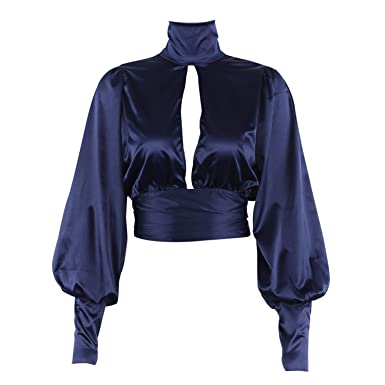558905311 Women Sexy Lace Up Bow Satin Blouse Turtleneck Shirt Backless ...