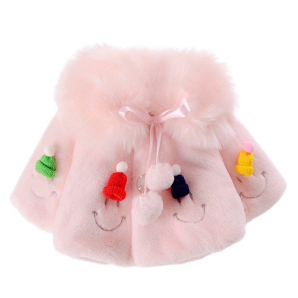Baby Toddler Girls' Smiling Face Faux Fur Cape Wrap Coat Cloak Pink 2-3