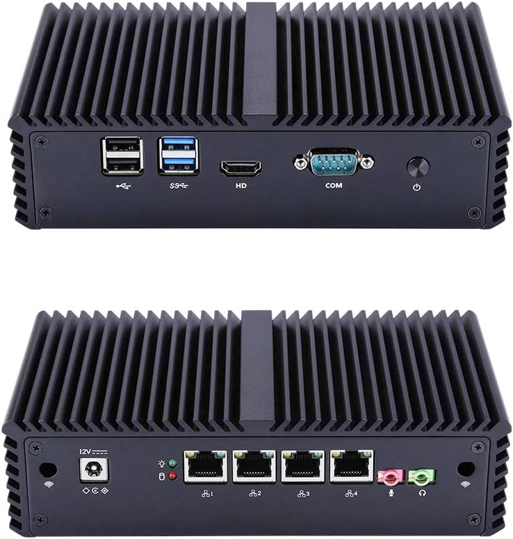 Qotom Q355G4 Mini Computer with Core i5 5200U Processor Onboard Dual Core 2.2 Ghz 8Gb Ram 128Gb SSD 4 LAN Mini PC Linux