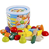Play Food for Children Toy Food Sets Wooden Toys Vegetables and Fruits Cutting Set Wooden Kitchen Play Food Educational…