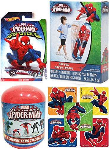 Spider-Man car Pack Hot Wheels Sinister Series + Stickers & Mystery Capsule Mini Figure & Disney Marvel Spider-Man 34.5