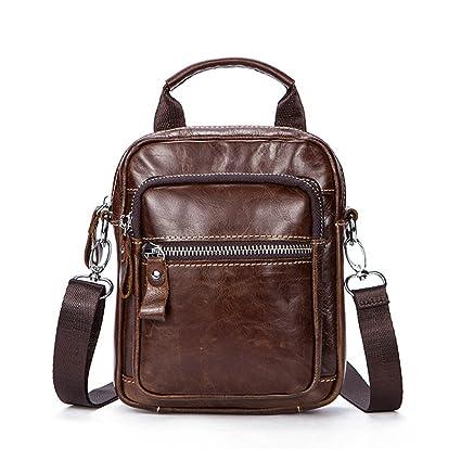 AFCITY maletín para Ordenador portátil Bolso Bandolera Messenger Crossbody de Cuero Estilo Retro Bolso Bandolera College