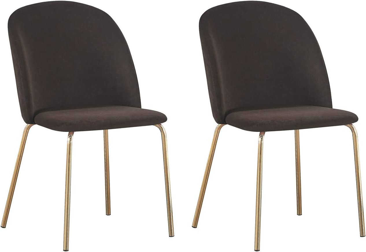 Set of 6 Velvet Dining Chairs with Golden Finish Metal Legs Living Room Chair Dale (Taupe) Taupe