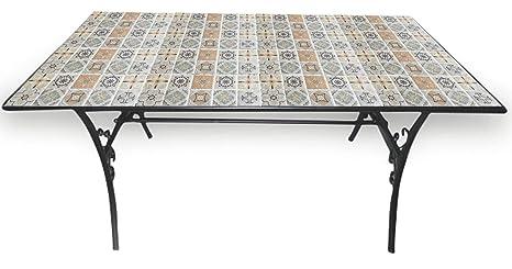 Tavoli Da Giardino Ferro Con Mosaico.Soriani Tavolo Da Giardino Rettangolare 145x83 Cm In Ferro Con Mosaico Rodi
