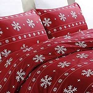 Vaulia Lightweight Microfiber Duvet Cover Set, Snowflake Pattern Design for Christmas Season, Red Color - Queen Size