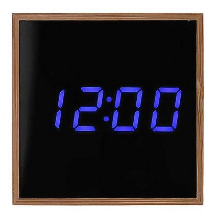 V.JUST El Bambú del Reloj De Alarma Digital, Cuadrado Moderno Multifuncional Ligero del