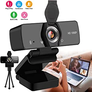 Webcam with Microphone,1080P Webcam USB Web Camera for Desktop & Computer,HD Web Cam Video Camera with Privacy Cover & Tripod,Laptop Desktop PC Camera for Video Conference Recording Streaming Black