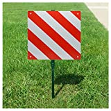 ErYao Reflective Sign, Slow Moving Vehicle Sign with Reflective Tape, Safety Right Angle, Highly Visible, for Rear Carrier and Bike Rack 50 x 50 cm (Red and White)