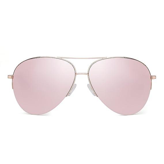 Jim Halo Gafas de Sol Aviador de Espejo Retro Oversized Semi-Rimless Anteojos Mujer Hombre