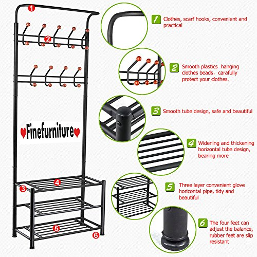 FINEFURNITURE Entryway Coat and Shoe Rack with 18 Hooks and 3-Tier Shelves, Fashion Garment Rack, Bag Clothes Umbrella and Hat Rack with Hanger (Hat Bag Shoe)