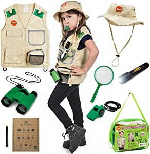 Born Toys Outdoor Explorer Kit for Boys and Girls with Washable Premium Safari Vest and Adventure kit with Scavenger Hunt